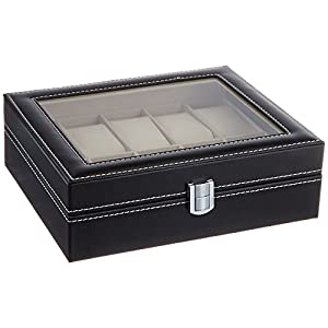 PU Leather 10 Grid Watch Display Box Jewelry Storage Organizer, Black - SciencePurchase