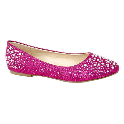 HerStyle Womens Manmade Pallas Studded Pump Flat with Glittering Beads Fuchsia 4QRy4962