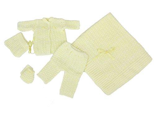 Newborn Baby Crochet Blanket 5 Piece Set Hat, Booties, Sweater, Pants (Yellow) ()
