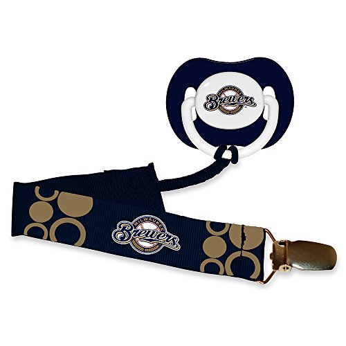 Baby Fanatic Pacifier with Clip - Milwaukee Brewers