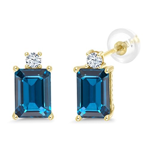 Gem Stone King 4.00 Ct London Blue Topaz White Created Sapphire 10K Yellow Gold Earrings