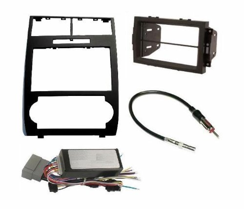 Radio Stereo Car Install Double Din Navigation Black Bezel + Can Bus Factory Amplified Systems Radio Replacement Wire Harness Antenna Adapter Fitted For Dodge Charger 2006 2007 Dodge Magnum 2005-2007 by Custom Install Parts