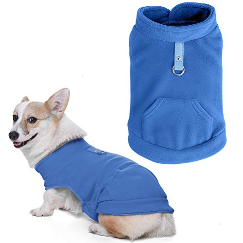 EXPAWLORER Dog Warm Fleece Vest Winter Jacket with Pocket Fluffy Coat Dogs Harness Clothes for Autumn and Winter, Blue Extra Small