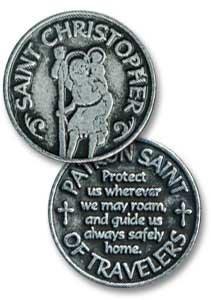 SIX (6) SAINT CHRISTOPHER Pewter POCKET Tokens PATRON SAINT of TRAVELERS - 1