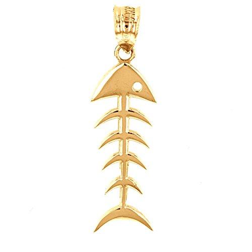 Polished 10k Yellow Gold Fishbone Fish Bones Skeleton Charm ()