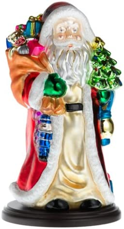 Thomas Pacconi Hand-Painted Glass 14-Inch Santa Figurine with Wood Base