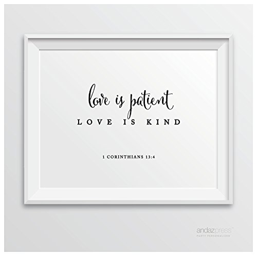 Andaz Press Biblical Wedding Signs, Formal Black and White, 8.5-inch x 11-inch, Love is Patient, Love is Kind, 1 Corinthians 13:4, Bible Quotes, 1-Pack