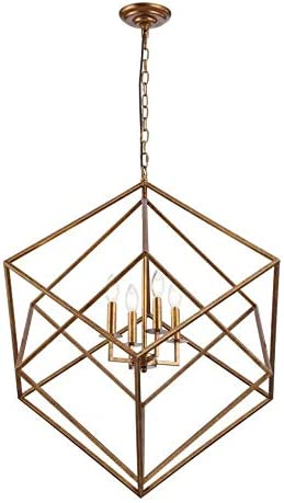26.5″ W x 29.5″H Cubist Large Chandelier 4 Light Multifaceted Frame Interlock Openwork Geometric Metal Pendant Lamp Dining Room Entry Living Room Antique Gold
