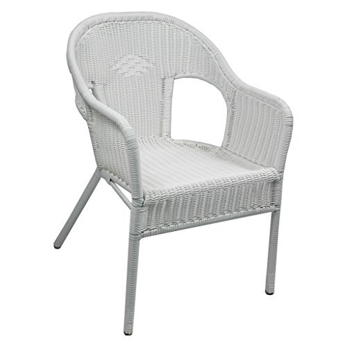 International Caravan 3186-2CH-WT-IC Furniture Piece Resin Wicker Outdoor Set of Two Bistro Chairs (Furniture White Set Wicker)