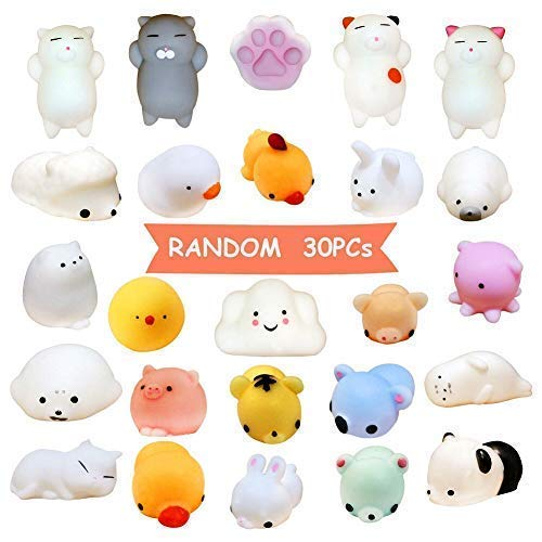 Mochi Squishy Animal Party Favors Toys, for Kawaii Animal Stress Relief Toys Cat Mini Novelty Gifts with Scented Charms Hand Wrist - Random 30Pcs ()