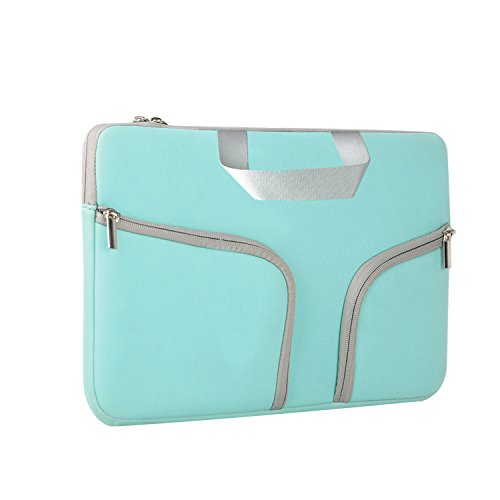 (HESTECH Chromebook Case, 11.6-12.3 inch Neoprene Laptop Sleeve Case Bag Handle Compatible with Acer Chromebook r11/HP Stream/Samsung/Lenovo C330/ASUS C202/MacBook air 11/ Surface Pro3/Pro4, Mint Green)
