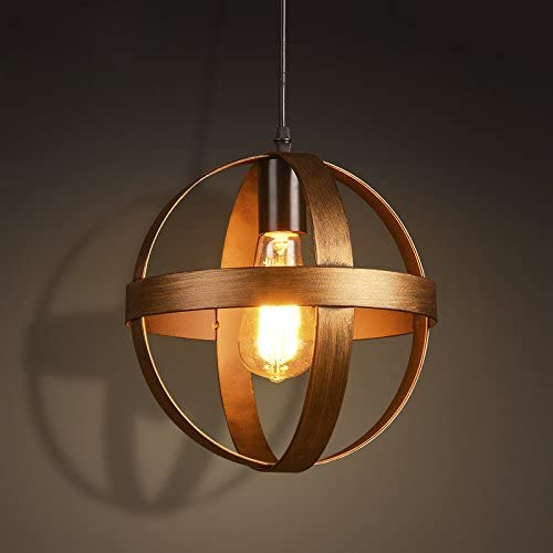 LITFAD Industrial Vintage Hanging Lights Retro Antique Bronze Single Light 9.84 Globe Pendant Light Antique Ceiling Light Cage Chandelier