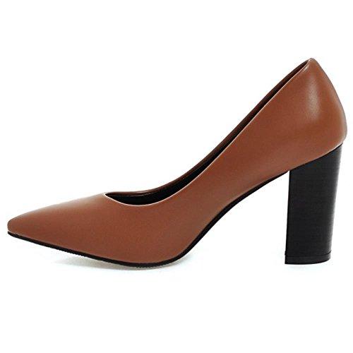 Pumps Brown Chunky High Heel KemeKiss Dress Classic Women Fashion 0nxffwvU4