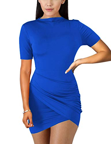 (BORIFLORS Women's Sexy Wrap Front Long Sleeve Ruched Bodycon Mini Club Dress,Small,Royal Blue)