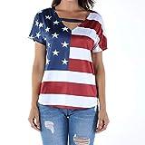 Keliay Cute Womens Tops Summer,Women Plus Size Loose Blouse Star Stripe USA Flag America T-Shirt Top Blouse