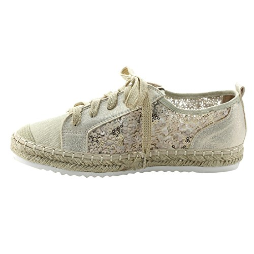 Bonnibel Fj92 Dames Trendy Veter Espadrilles Met Lovertjes Stof Sneakers Beige