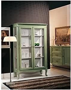 Muebles Vitrina Estantería de Madera Lacado como Fotos-Verde ...
