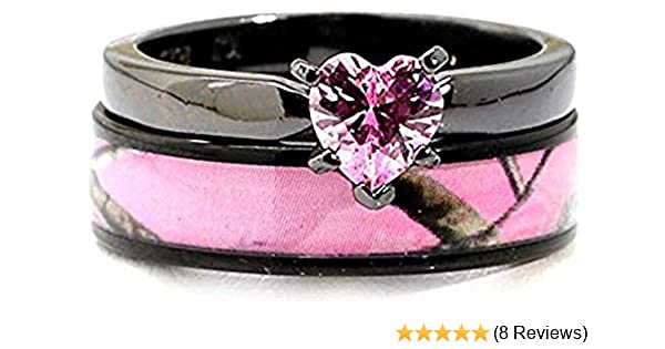 Amazon Com Black Plated Pink Camo Wedding Ring Set Pink Heart