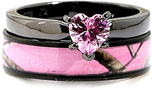 Black Plated Pink Camo Wedding Ring Set Pink Heart Engagement Rings Hypoallergenic Titanium and Stainless Steel (7)
