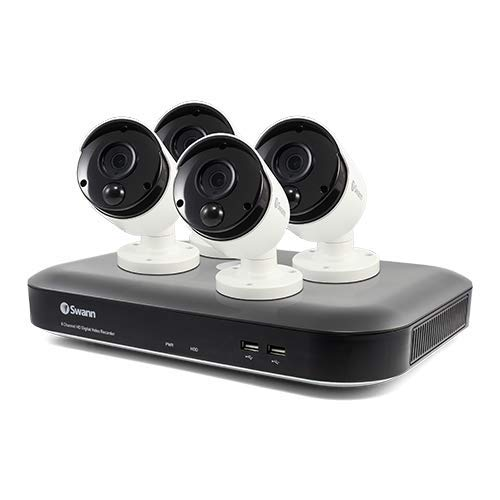 Swann 8 Channel 4 Camera Security System, Wired Surveillance 4K Ultra HD DVR 2TB HDD, Indoor/Outdoor, Color Night Vision + Heat & Motion Detection, Pairs with Google Assistant + Alexa, SWDVK-855804