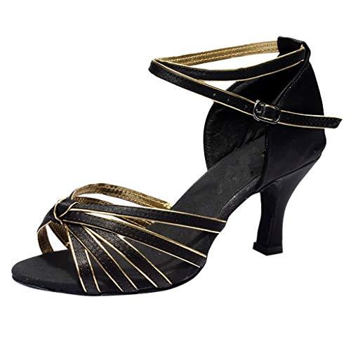 Detail T-strap Sandals - HENWERD Rhinestone Ballroom Dance Shoes Womens Latin Salsa Performance Dance Shoes (Gold,6.5 US)