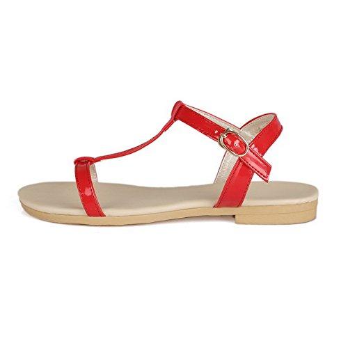 Allhqfashion Solide Pu Chaussures À Talons Bas Bout Ouvert Boucle Sandales Rouge