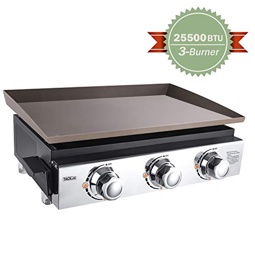 TACKLIFE 23 Inch Tabletop Grill, 25500 BTU Propane Gas Griddle, 3 Burners, Large Main Cooking Area, Stainless Steel Panel, Portable, Camping Picnic, Outdoor Courtyard-TGG03