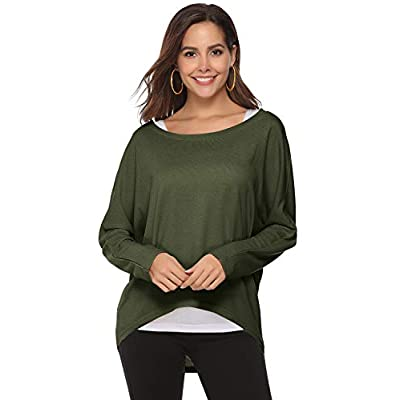 Yidarton Womens Sweater Casual Oversized Baggy Off-Shoulder Long Sleeve Pullover Shirts Tops at Women's Clothing store