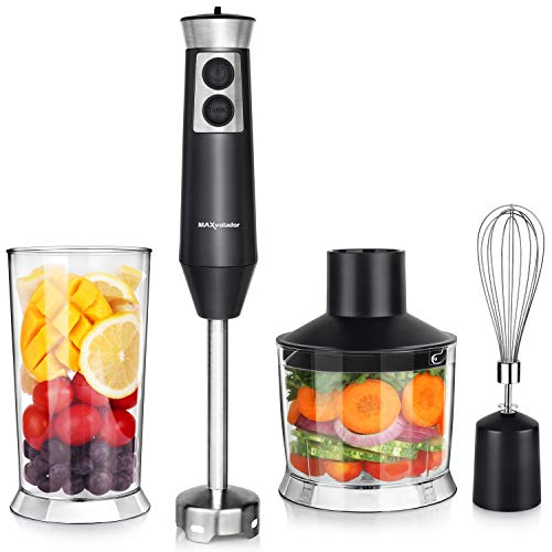 Powerful 4-in-1 Immersion Hand Blender Set, 500W Multi-Speed Heavy Duty Pure Copper Motor, Stainless Steel Finish, Includes Food Chopper, Whisk Attachment, BPA-Free, cETLus Listed, FDA (Black)