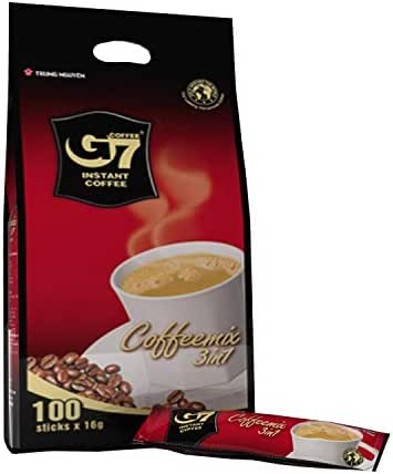 Trung Nguyen - G7 3 In 1 Instant Coffee - 100 Sticks | Roasted Ground Coffee Blend with Creamer and Sugar, Suitable for Most Coffee Brewing Methods, (16gr/stick)