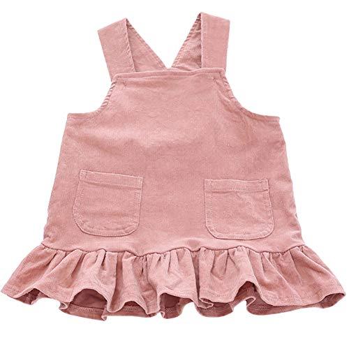 Soly Teche Baby Girls Corduroy Suspenders Dresses Sleeveless Ruffles Hemline Overalls Dress