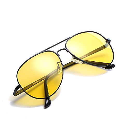 HD Night Vision Glasses for Comfortable Driving Yellow Lens Aviator Nighttime Sunglasses (Black / - Special Glasses