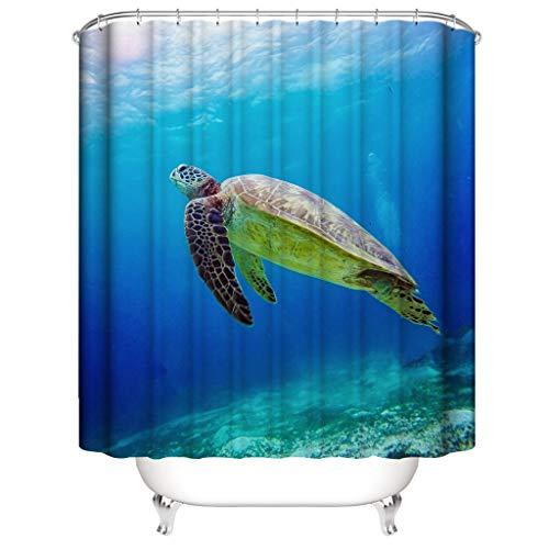 HOLD HIGH Shower Curtain, Marine Style Polyester Bathroom Bath Curtain Set with Undersea Animal Pattern (Curtains Marina)