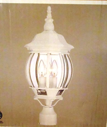 3-Light Outdoor White Post Lantern with Clear Beveled Glass (Bay Post Lantern)