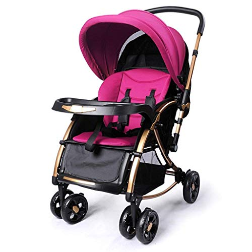 LLYU Pushchairs-Baby Trolley Multifunction Can Shake Foldable Two-Way Push Rod Can Sit/Lie Shade Anti-Uv Five-Point Seat Belt Avoid-(56 90 100Cm) (Color : Purple)