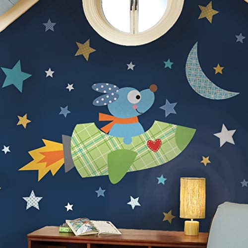 MN 29 Piece Kids Blue Green Yellow Rocket Dog Wall Decals Set, Cartoon Themed Wall Stickers Peel Stick, Fun Animated Ships Space Moon Stars Heart Flying Outerspace Decorative Graphic Mural Art, Vinyl