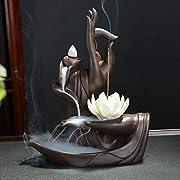 #LightningDeal OUYEE Lotus Flower/Monk Backflow Incense Burner, Large Handmade Ceramic Backflow Cone Sticks Incense Holder Home Decor Craftwork Figurine with 10 pcs Incense Cones (A)