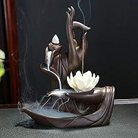 DUBU Brûle-encens à refoulement - Bouddha lotus - En céramique, avec 10 cônes d'encens Style 2