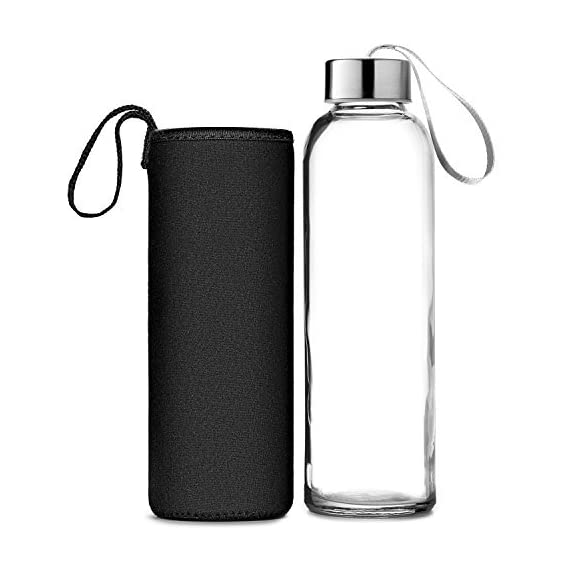 Chef's Star Glass Water Bottle 6 Pack 18oz Bottles for Beverages and Juicer Use Stainless Steel Leak Proof Caps with Carrying Loop - Including 6 Black Nylon Protection Sleeve 2 PUREST, SAFEST & MOST CONVENIENT GLASS BOTTLES: Chef's Star glass beverage bottles are made of a pure glass material which is extremely safe, PBA, and lead free. They storage liquids to deliver the best taste without leeching any chemicals or toxins; At Chef's Star, we believe in better living choices - and better bottles too! Don't settle for less than the ABSOLUTE BEST - you deserve it! THE PRETTIEST & MOST EARTH-FRIENDLY JUICE BOTTLES: Just imagine how lovely your freshly squeezed juices will appear on your table or in your fridge in Chef's Star's compact, leak-proof and stylish cylinder glass bottles. They are absolutely the most BEAUTIFUL and decorative glass juice containers that will compliment your kitchen while safely and compactly storing your liquids. SAFELY & EASILY TRANSPORT YOUR HOME-SQUEEZED JUICES: Traveling with your freshly-squeezed beverages and juices has never been any easier! Chef's Star's premium liquid containers feature an AIRTIGHT stainless steel LEAK RESISTANT cap with a CARRYING LOOP that will never leak, no matter in what position it's placed. How convenient!