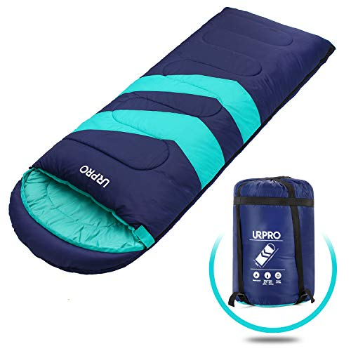 URPRO Sleeping Bag 3-4 Seasons Warm Cold Weather Lightweight, Portable, Waterproof Sleeping Bag with Compression Sack for Adults Kids – Indoor Outdoor Camping, Backpacking, Hiking Blue