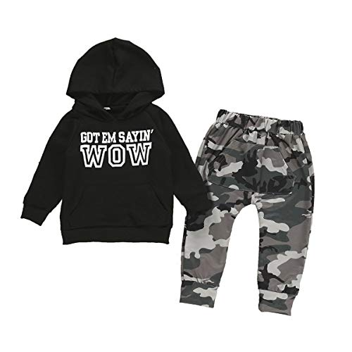 Toddler Baby Boy Hoodie Sweatshirts & Sweatpants Set Casual Outfits Kids Coat Cotton Jacket 1-5 Years Clothes (Black Camouflage, 5-6T)