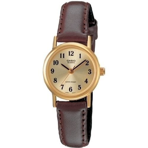 - Casio Women's LTP1095Q-9B1 Brown Leather Quartz Watch with Gold Dial