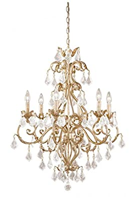 """Vaxcel NCCHU006GW USA 6 Light Crystal Chandelier Lighting Fixture in White, Gold, Crystal, 34.5"""" x 26.5"""" x 26.5"""""""