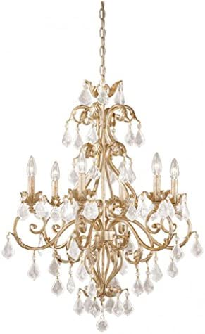 Vaxcel NCCHU006GW USA 6 Light Crystal Chandelier Lighting Fixture in White, Gold, Crystal, 34.5 x 26.5 x 26.5