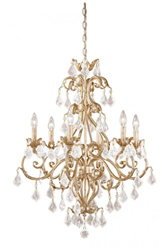 Vaxcel NCCHU006GW USA 6 Light Crystal Chandelier Lighting Fixture in White, Gold, Crystal, 34.5