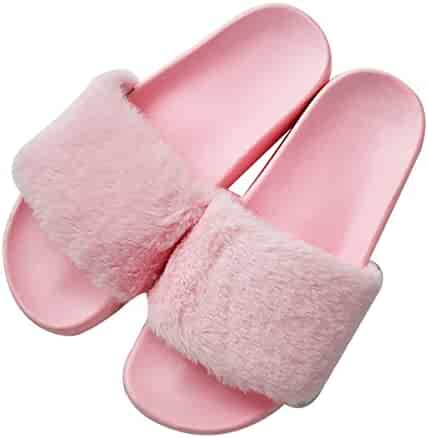 c88609f32d0a Womens Faux Fur Flat Slide Sandals Fluffy Open Toe Slipper Soft Cozy Plush  Indoor Slip on