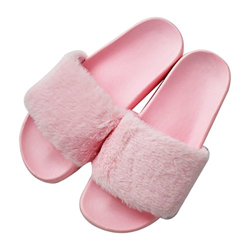 (Womens Faux Fur Flat Slide Sandals Arch Support Fluffy Plush Slip on Shoes Indoor House Slippers Non Slip Pink)