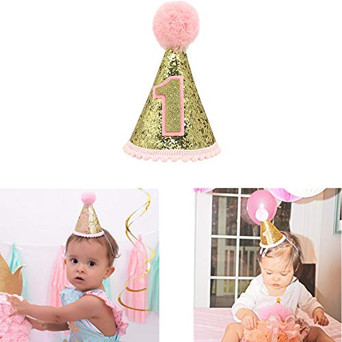 ANYI16 Gold Glitter Sparkle Princess 1st Birthday Cone Hat with Adjustable Headband for Baby Girl Party Supplies(Pink) -