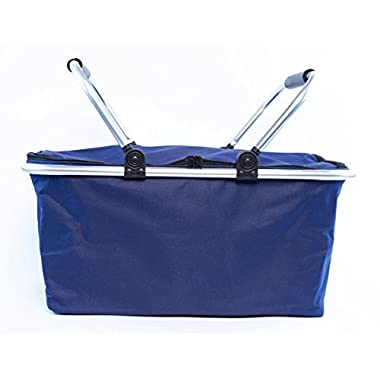 Insulated Folding Picnic Basket -Insulated Cooler with Carrying Handles (Navy)