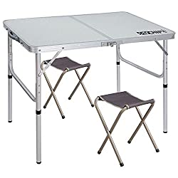 Redcamp Camping Folding Table Adjustable Portable Picnic Table With 2 Chairs Aluminum White 35 4x23 6 X15 27 6